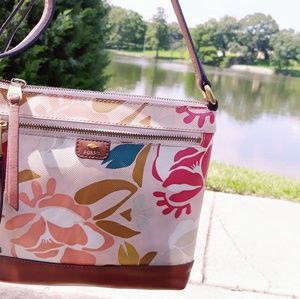 Fossil Floral Leather trim Crossbody